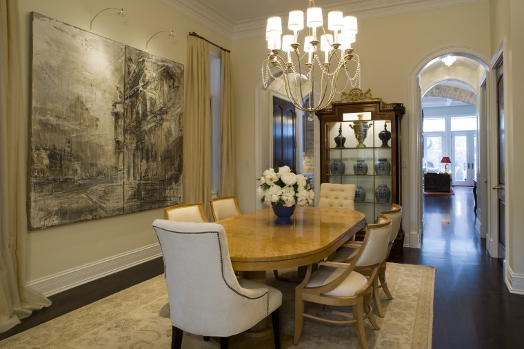 view of dining room featuring a chandelier, dining ceiling, dining room, estate, home, interior design, living room, property, real estate, room, table, brown