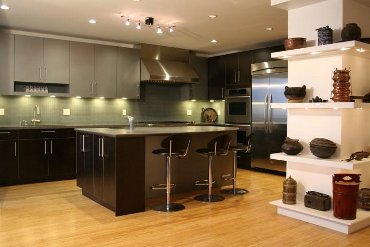 Silver cabinetry contemporary kitchen cabinetry, countertop, cuisine classique, floor, flooring, hardwood, interior design, kitchen, room, wood flooring, brown, orange