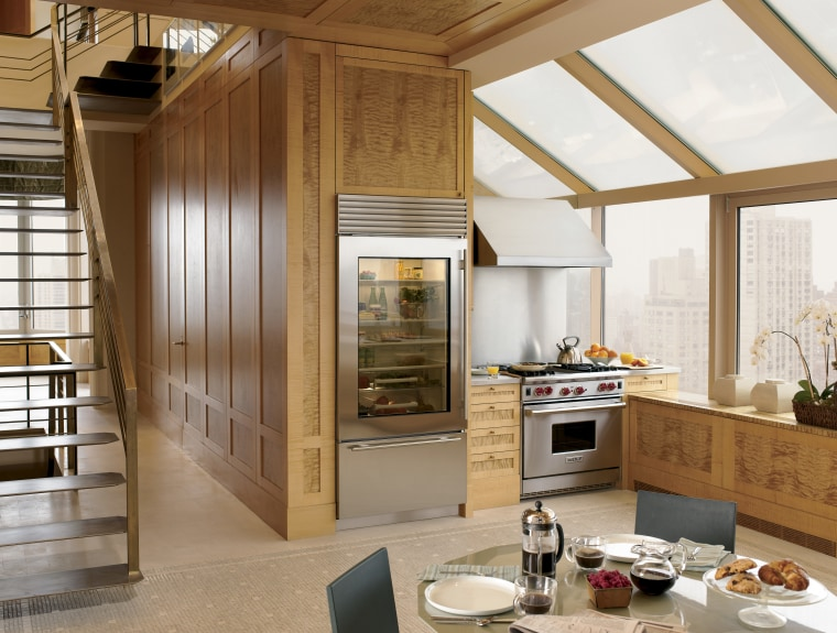 A Sub-Zero Glass Door Refrigerator and Wolf Gas cabinetry, ceiling, countertop, cuisine classique, interior design, kitchen, window, wood, brown, white