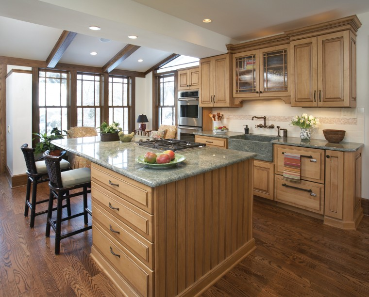 Traditional wood maple cabintery kitchen with granite countertops, cabinetry, countertop, cuisine classique, floor, flooring, hardwood, interior design, kitchen, laminate flooring, room, wood flooring, brown, gray