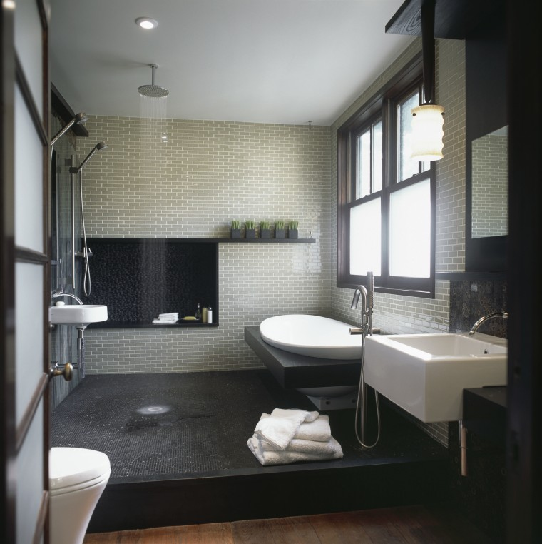 Natural hues and materials create an outdoor mood architecture, bathroom, floor, interior design, room, sink, gray, black