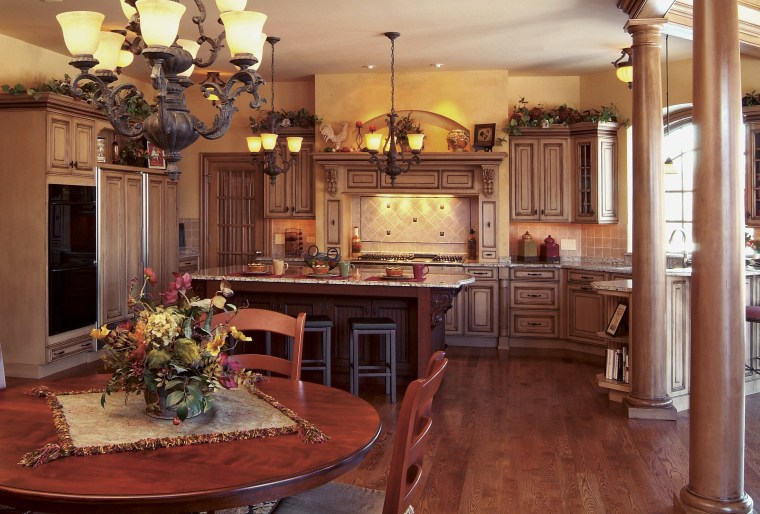 view of  kitchen fefaturing cabinetry, wooden floors, cabinetry, countertop, cuisine classique, dining room, furniture, home, interior design, kitchen, living room, room, wood, red