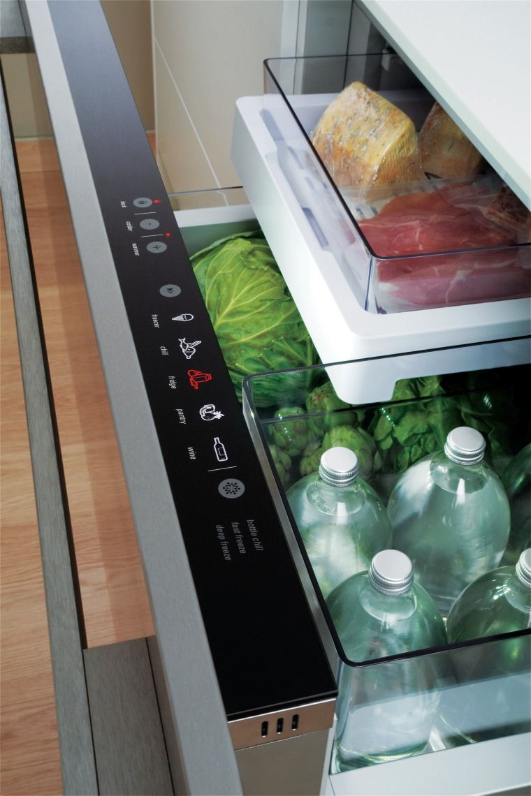 The new modular Fisher & Paykel CoolDrawer allows countertop, furniture, home appliance, kitchen, kitchen appliance, refrigerator, table, gray