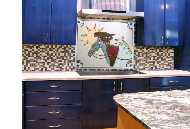 View of kitchen with horses on a glass countertop, furniture, kitchen, white, blue