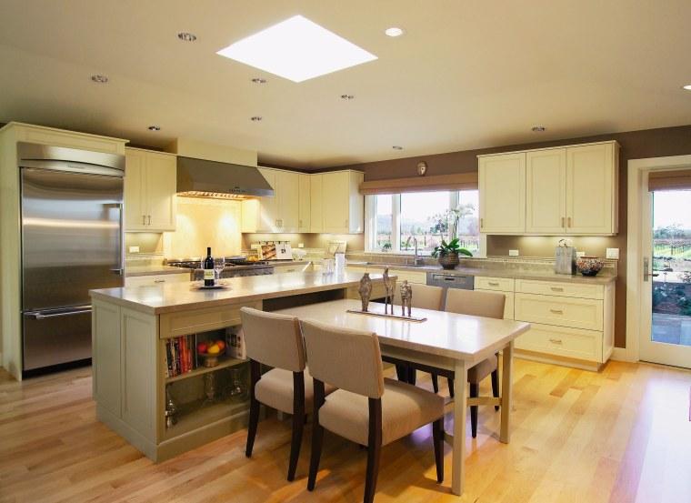 Pale yellow contemporary kitchen cabinetry, countertop, cuisine classique, flooring, interior design, kitchen, real estate, room, orange, brown