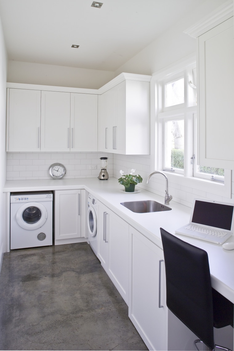 The original kitchen is now a scullery, with cabinetry, countertop, cuisine classique, floor, home, home appliance, interior design, kitchen, room, gray, white