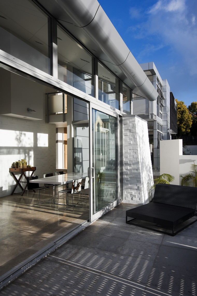 View of sliding doors from Able Aluminium. architecture, building, condominium, daylighting, facade, home, house, interior design, real estate, window, black, gray