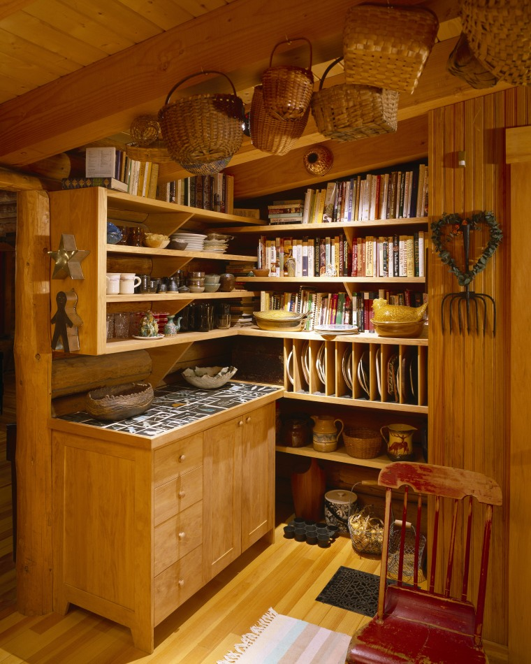 View of wooden shelving and cabinetry. bookcase, cabinetry, furniture, interior design, kitchen organizer, shelving, wood, brown