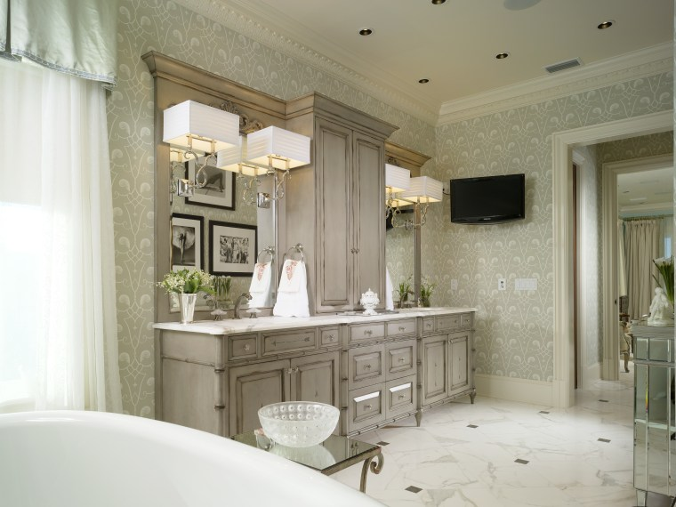 View of the bathroom which features a large bathroom, ceiling, countertop, cuisine classique, estate, floor, home, interior design, room, wall, window, brown, white