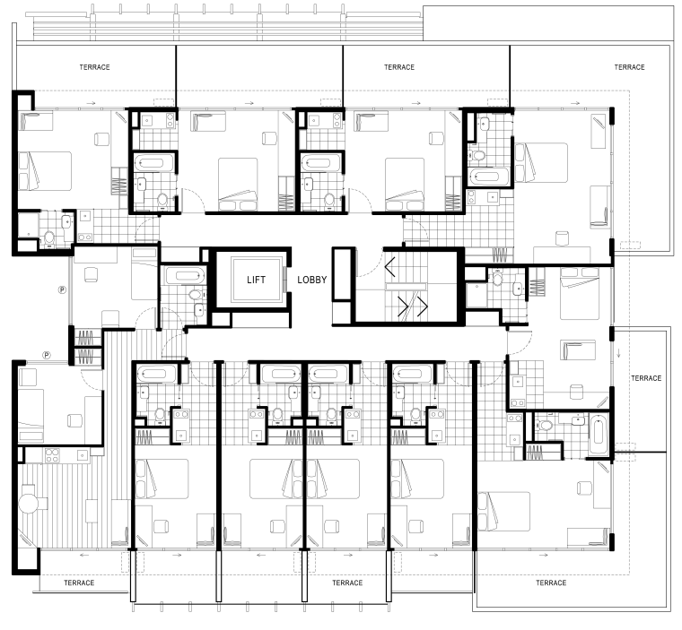 Image of floor plans for an area of architecture, area, black and white, design, drawing, floor plan, font, line, pattern, plan, product design, schematic, square, symmetry, text, white