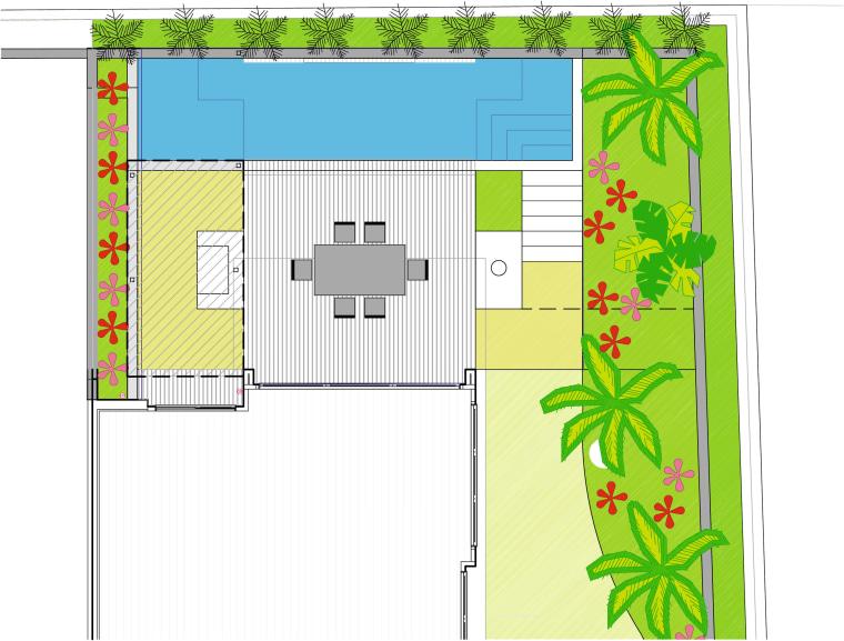 View of the landscape design plans. area, design, floor plan, flora, grass, green, leaf, line, pattern, plant, tree, white