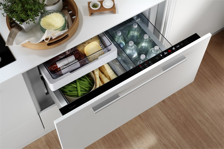 View of a kitchen which features appliances from floor, furniture, home appliance, kitchen, product, product design, table, gray