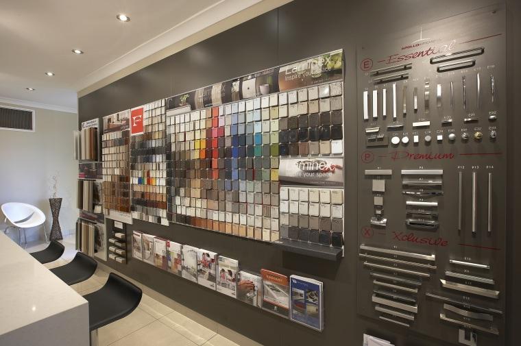 View of an Apollo Kitchens showroom which showcases interior design, retail, gray, black