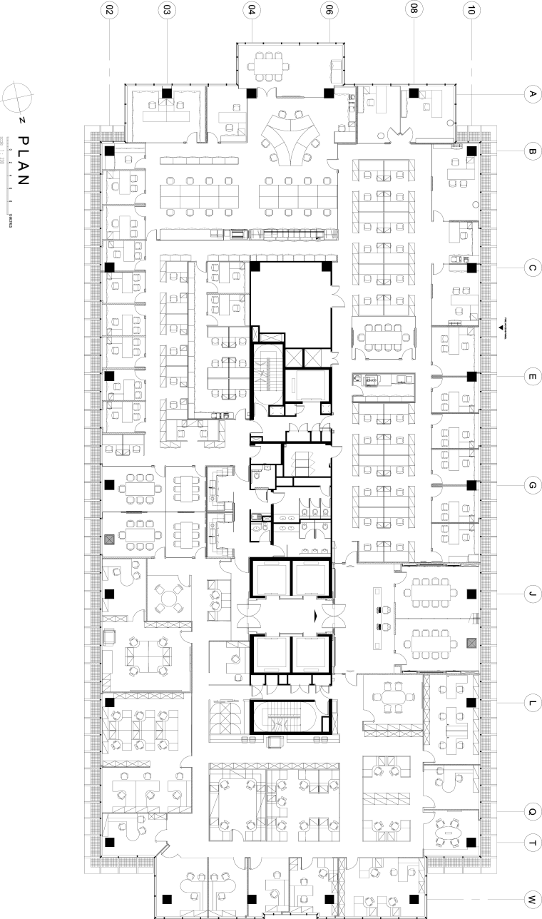 View of updated offices featuring dark timber floors, area, black and white, design, diagram, drawing, floor plan, font, line, music, pattern, plan, product design, schematic, square, structure, text, white