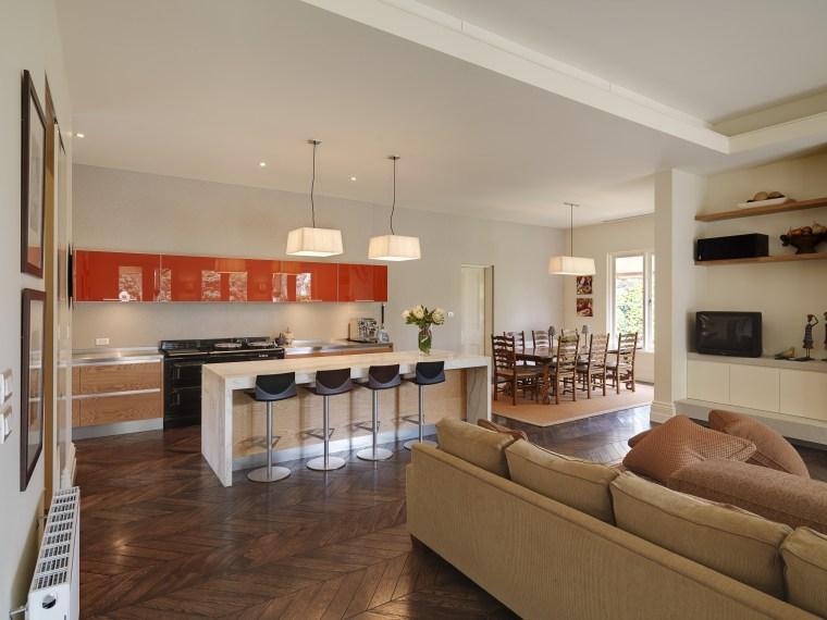 Kitchen designer Keith Sheedy worked in close contact floor, flooring, hardwood, interior design, kitchen, living room, real estate, room, wood flooring, gray, brown