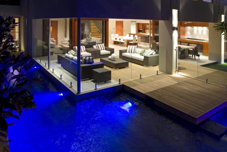 View of outdoor living area. floor, flooring, home, interior design, lighting, blue