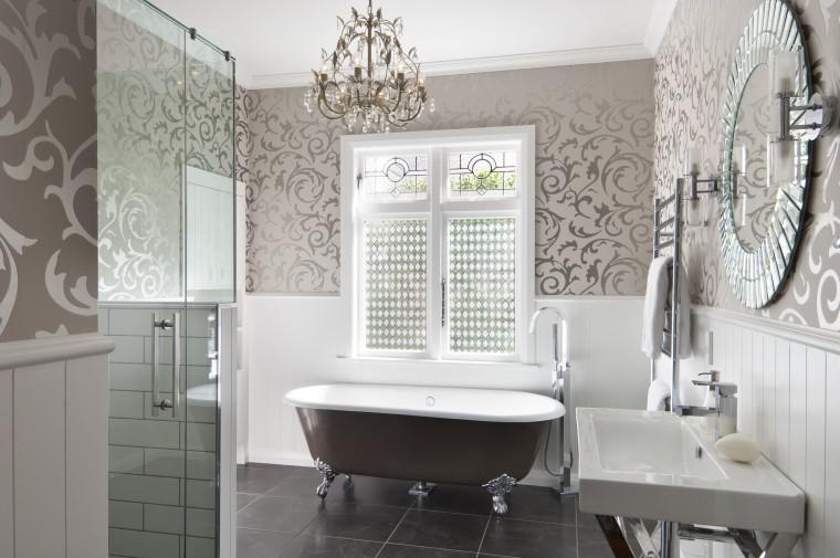 View of bathroom in a 1930s bungalow designed bathroom, floor, home, interior design, room, tile, wall, window, gray