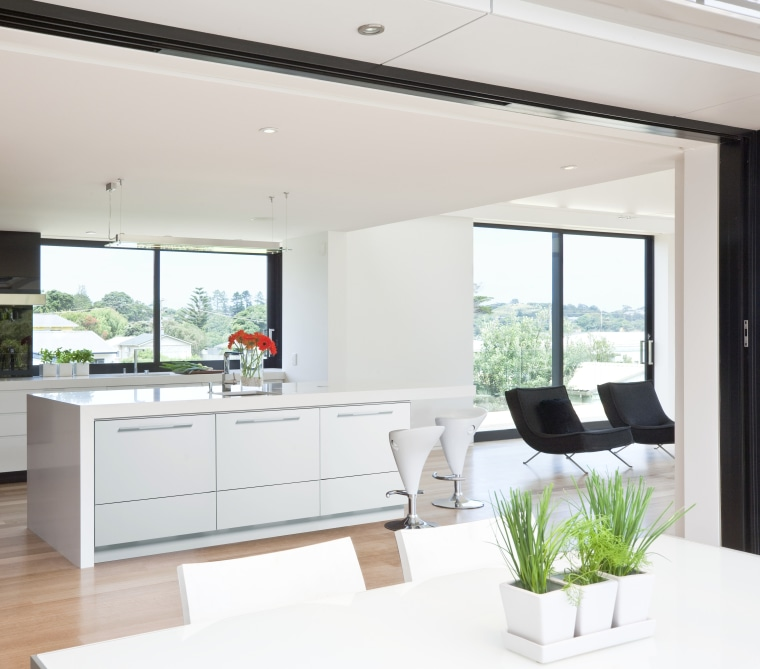 View of kitchen which features Fisher & Paykel's home, interior design, kitchen, living room, window, white