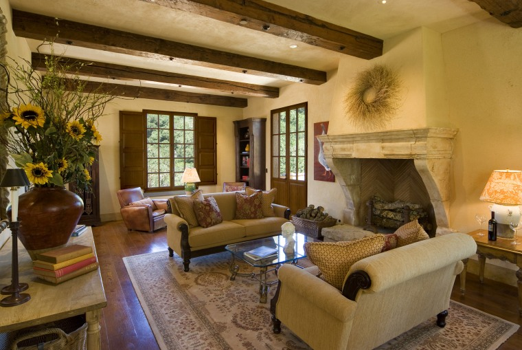 Lounge with nice furniture and a large fireplace ceiling, estate, home, interior design, living room, property, real estate, room, wood, brown, orange