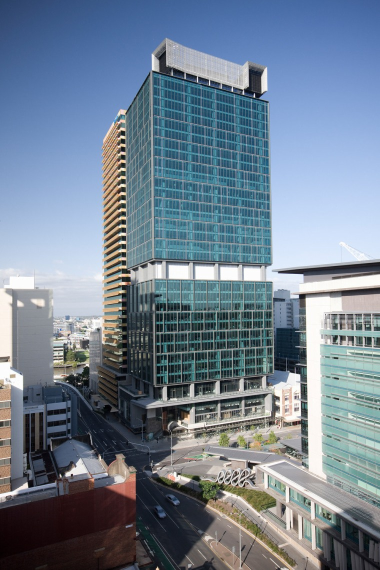 34-story building, 400 George St, Brisbane architecture, building, city, cityscape, commercial building, condominium, corporate headquarters, daytime, downtown, facade, headquarters, hotel, metropolis, metropolitan area, mixed use, real estate, residential area, sky, skyscraper, tower block, urban area, urban design, teal