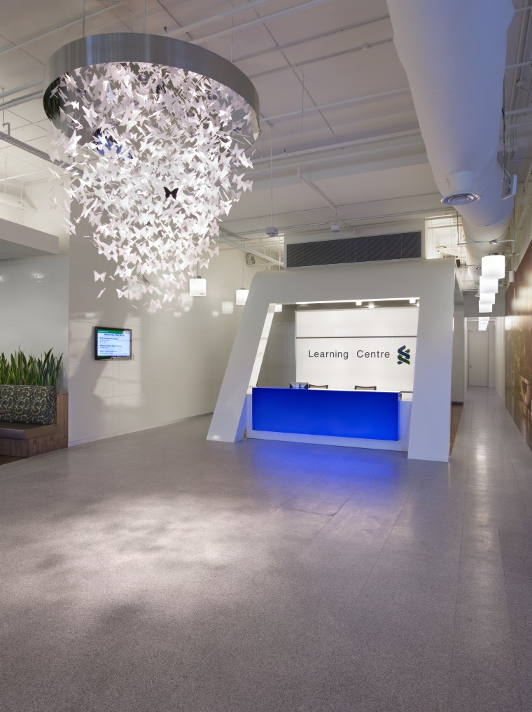 Standard Chartered Bank, Changi Business Park, Singapore architecture, ceiling, daylighting, exhibition, floor, flooring, interior design, lobby, gray