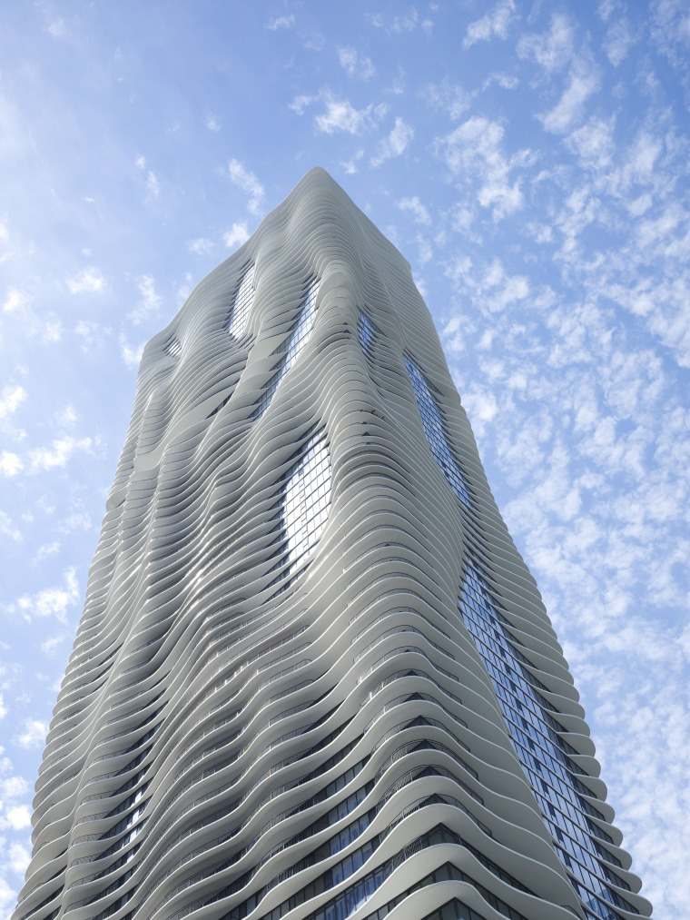 Exterior view of the Aqua Tower in Chicago architecture, building, cloud, daytime, landmark, sky, skyscraper, teal, gray