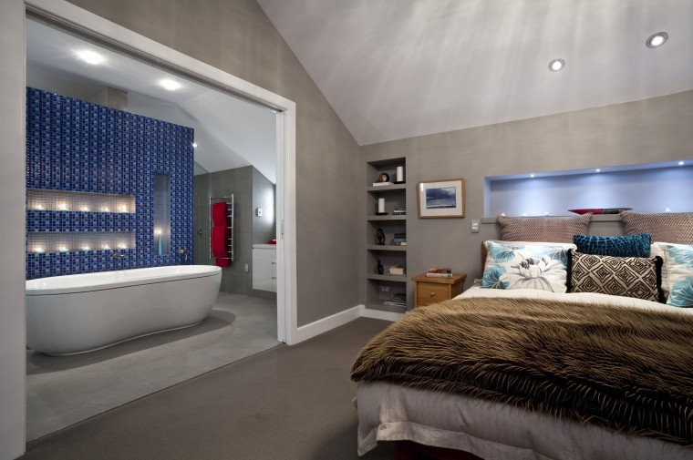 View of contemporary bedroom with ensuite featuring blue architecture, bedroom, ceiling, estate, floor, interior design, real estate, room, suite, wall, gray