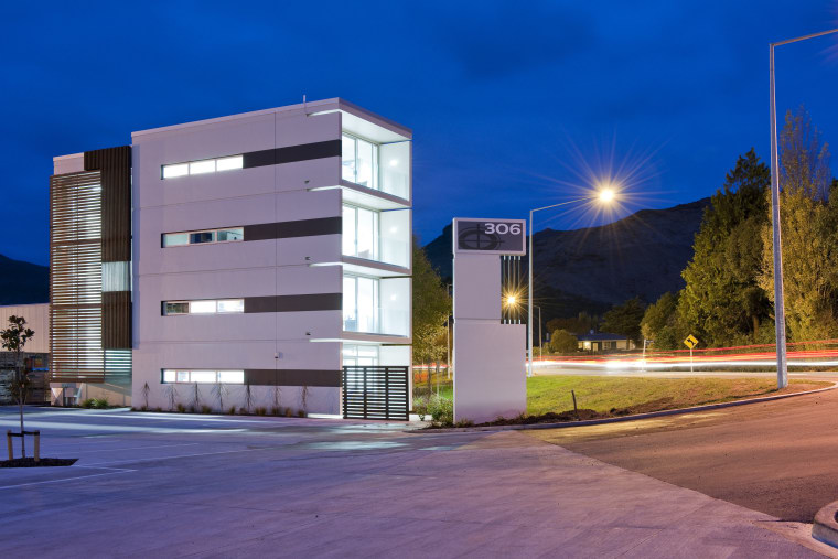 View of a logistics centre designed by Cymon apartment, architecture, building, commercial building, condominium, corporate headquarters, elevation, facade, headquarters, home, house, lighting, metropolitan area, mixed use, neighbourhood, night, property, real estate, residential area, sky, blue