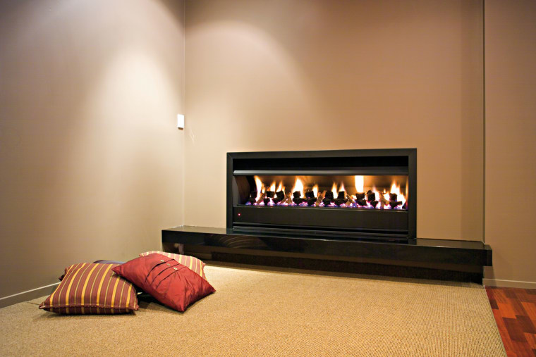 View of contemporary fireplace fireplace, hearth, heat, interior design, wood burning stove, orange, brown