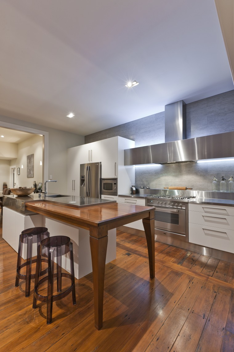 View of contemporary renovated kitchen featuring timber floors, cabinetry, ceiling, countertop, cuisine classique, floor, flooring, hardwood, interior design, kitchen, laminate flooring, real estate, room, wood, wood flooring, gray, brown