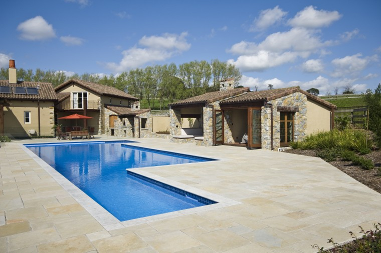 View of the pool area by Mayfair Pools backyard, estate, home, house, leisure, property, real estate, residential area, resort, swimming pool, villa, gray, teal