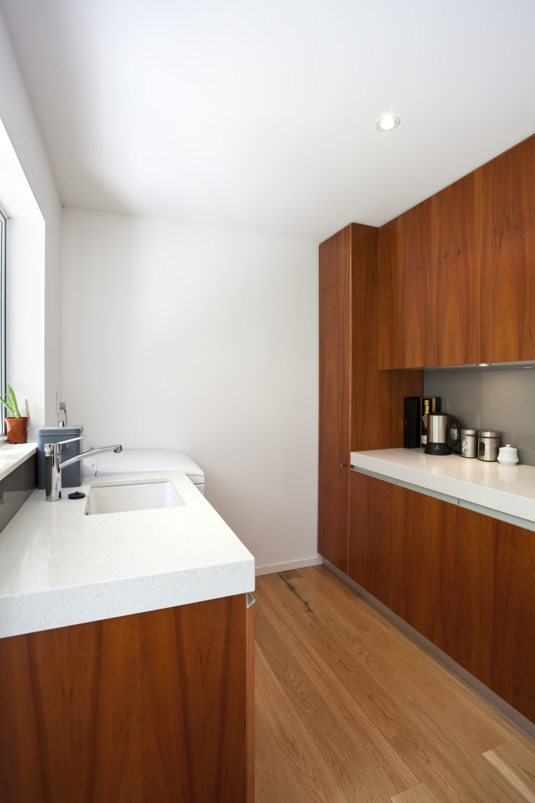 View Of Kitchen Which Features Oak Floors, CaesarStone Architecture,  Bathroom, Countertop, Floor