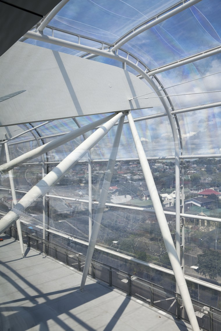 View of the ETFE canopy of Eden Park architecture, daylighting, roof, sky, structure, gray