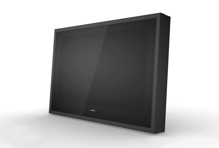View of outdoor flat screen TV from H2OTV. computer monitor, display device, flat panel display, media, multimedia, output device, product, product design, screen, technology, television, white, black