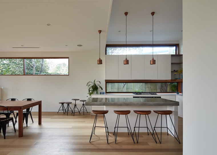 01 Step Down House architecture, ceiling, classroom, daylighting, furniture, house, interior design, room, table, gray