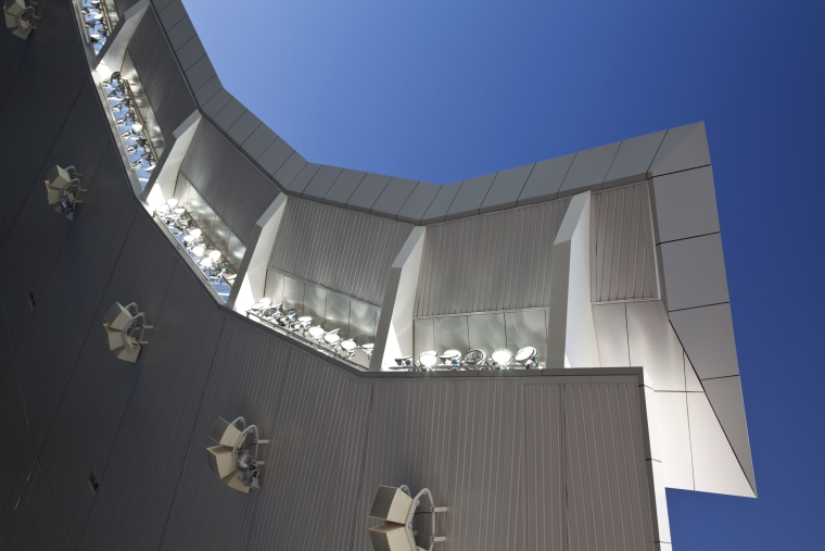 View of the new South Stand at the architecture, building, daylighting, daytime, facade, house, sky, gray, blue, black