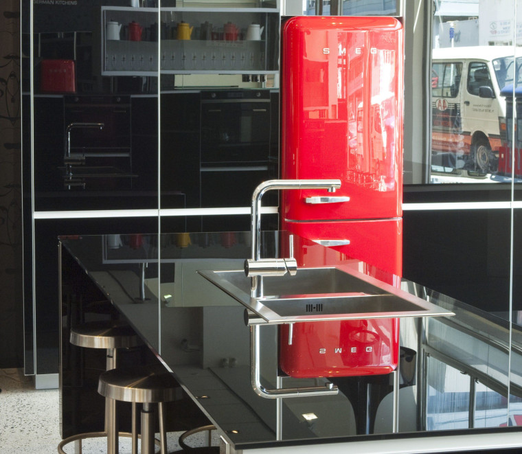 Adding a Smeg 50s style red refrigerator creates furniture, product, black