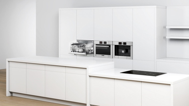 View of a minimal kitchen which features white furniture, kitchen, product, product design, white