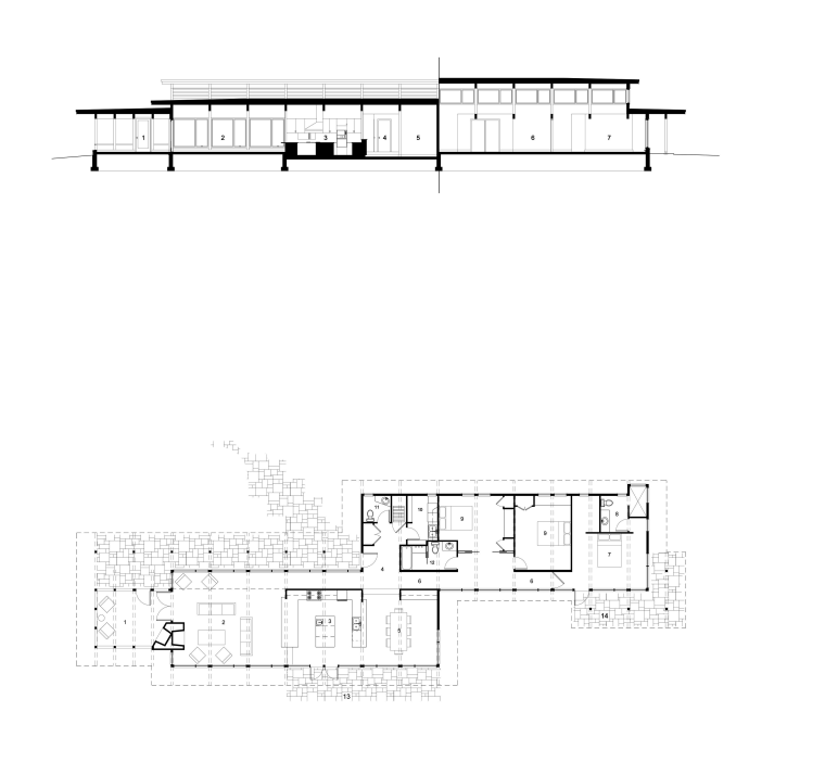 View of sunken open-plan kitchen with wooden cabinetry, angle, architecture, area, design, diagram, drawing, elevation, floor plan, font, line, plan, product design, technical drawing, text, white
