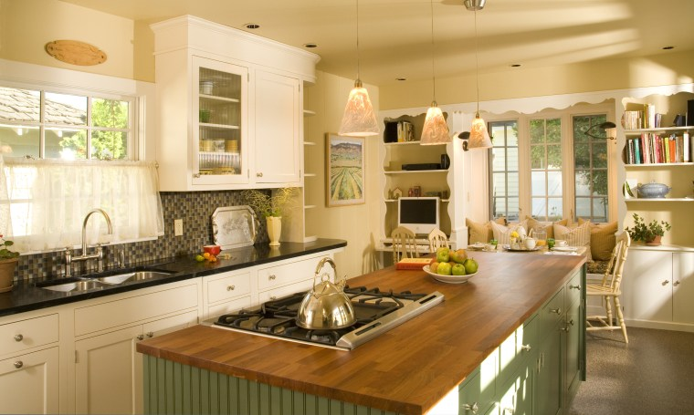 View of remodeled kitchen in a California bungalow, cabinetry, countertop, cuisine classique, home, interior design, kitchen, room, window, orange, brown