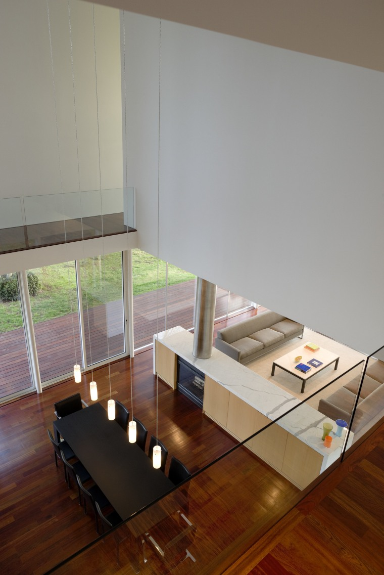 High angle shot of first floor. architecture, coffee table, daylighting, floor, flooring, furniture, glass, hardwood, house, interior design, product design, table, wood, gray