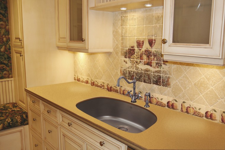 View of undermounted double sinks by Artisan Manufacturing bathroom, cabinetry, countertop, floor, flooring, home, interior design, kitchen, property, room, sink, tile, under cabinet lighting, orange
