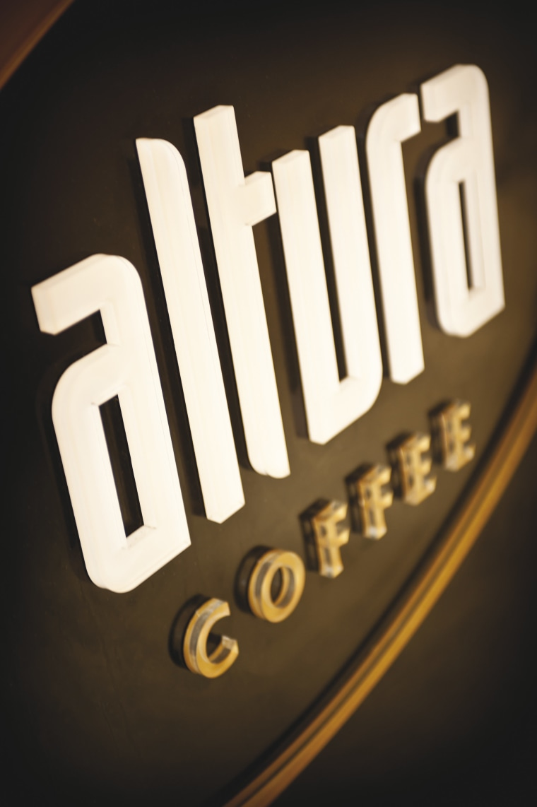 The Altura Coffee sign. brand, font, logo, text, black