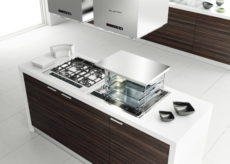 Here is a view of Kleenmaid appliances. countertop, furniture, interior design, kitchen, product, product design, sink, table, white