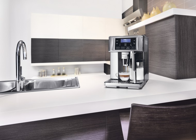 Delongi Coffee Machine countertop, home appliance, interior design, kitchen, kitchen appliance, product, product design, small appliance, white