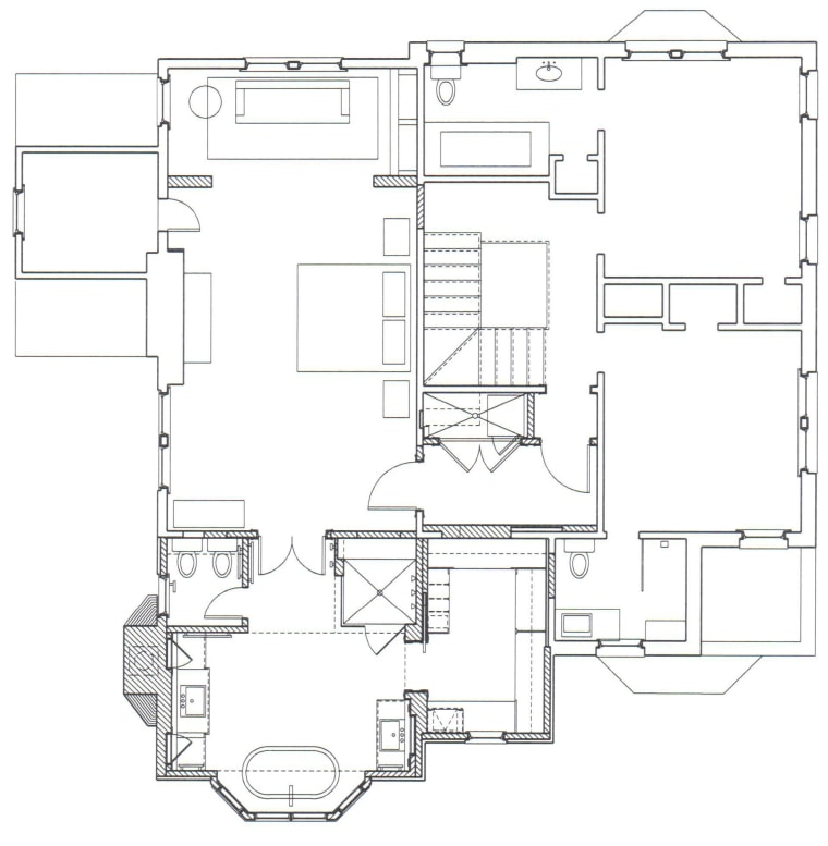 This master suite's architects were James Hess and angle, area, black and white, design, diagram, drawing, floor plan, line, line art, plan, product, product design, structure, technical drawing, white