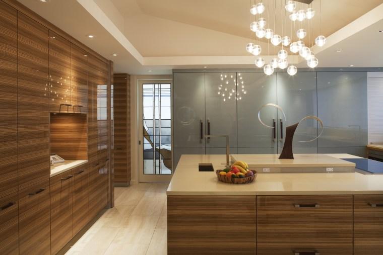 View fo kitchen remodelled with Zebrano Vaneer.  ceiling, floor, flooring, hardwood, home, interior design, interior designer, kitchen, room, wood, wood flooring, brown, orange