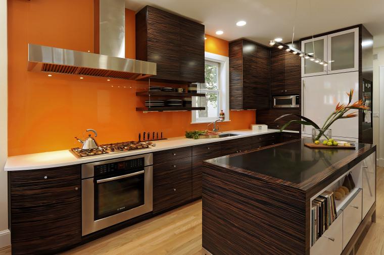 View of kitchen designed by Jennifer Gilmer.  cabinetry, countertop, cuisine classique, interior design, kitchen, real estate, room, brown, black