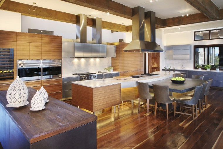This kitchen was designed and manufactured by Bulthaup. countertop, cuisine classique, interior design, kitchen, real estate, brown