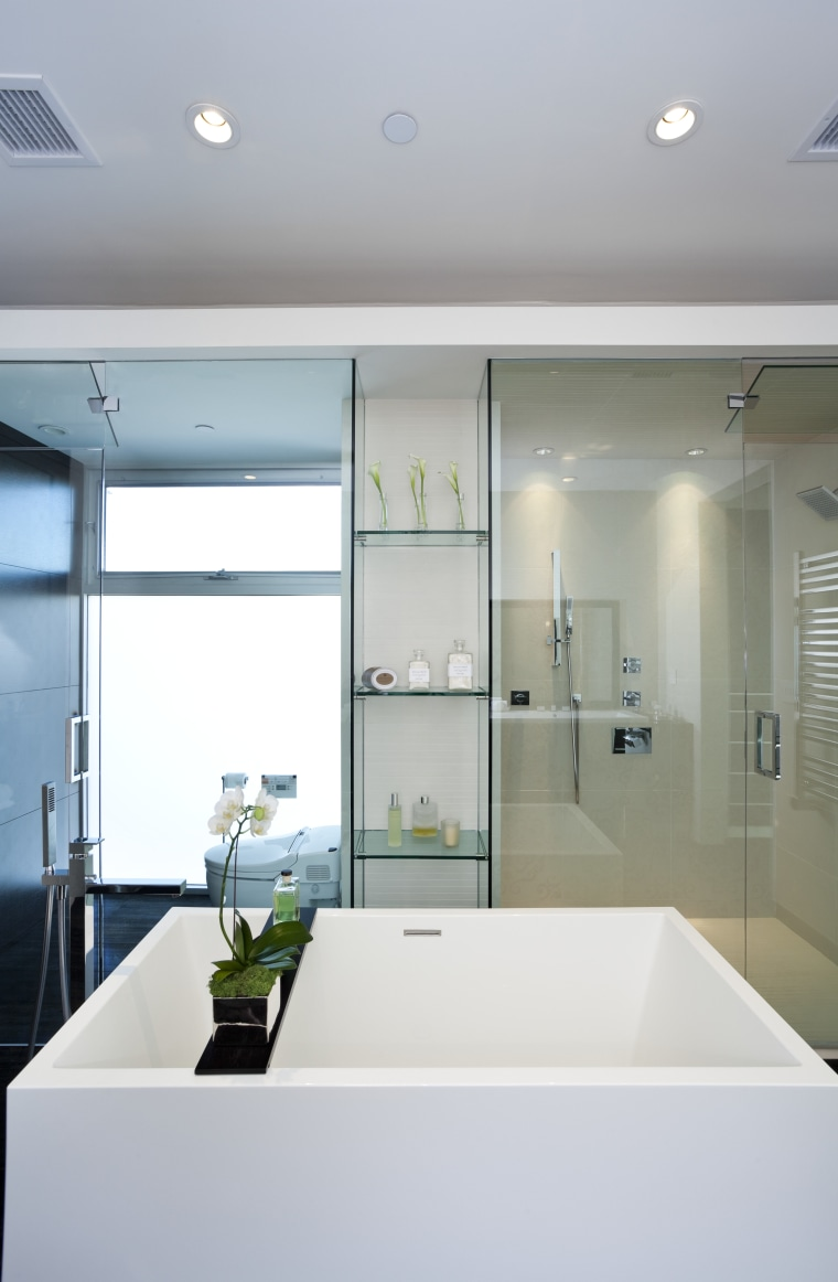 View of contemporary square tub with plant feature. architecture, bathroom, ceiling, daylighting, glass, home, house, interior design, room, sink, window, gray, white